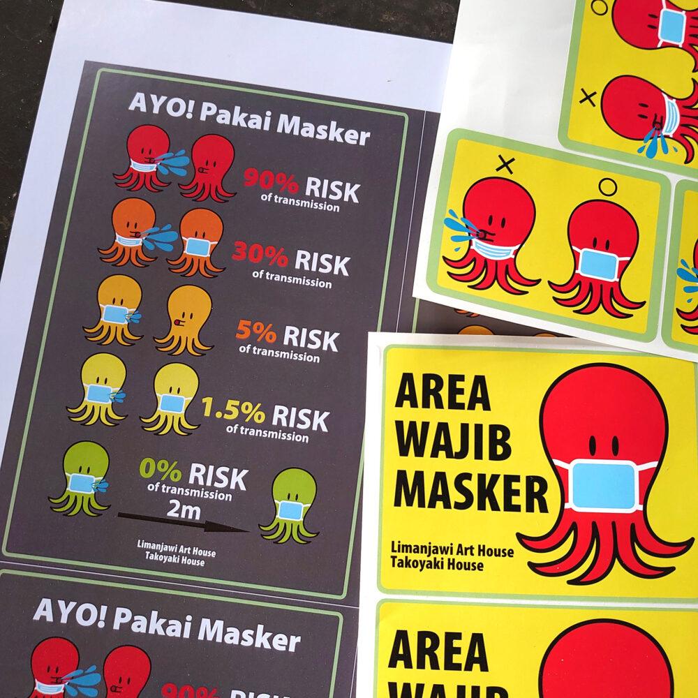 石井泰美、たこ焼き屋のキャラクターで作った感染予防対策ステッカー