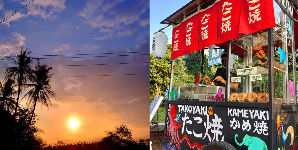 石井泰美、屋台から見える夕日と、夕日を浴びる屋台